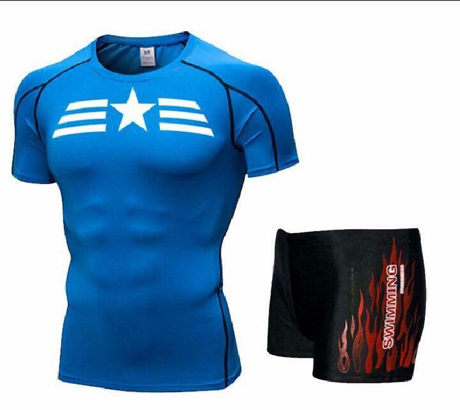 Men Swim Top T Shirt Trunks Boxers Shorts Swimwear Short Pants SwimSuit Swimming Wear Short Sleeves For Beach Spa Pool Star