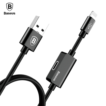 Baseus 2in1 Charger Cable For iPhone X 8 7 6 Plus Aux Jack Music Charging Audio Adapter Cable Headphone Earphone Cable