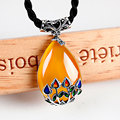 925 inlaying thai silver green chalcedony necklace yellow chalcedony pendant garnet drop pendant fashion vintage