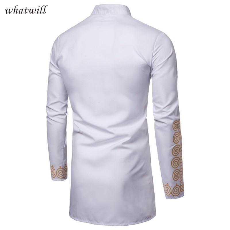 Alion Men African Dashiki Tribal Long Sleeve Mandarin Collar Shirts Tops