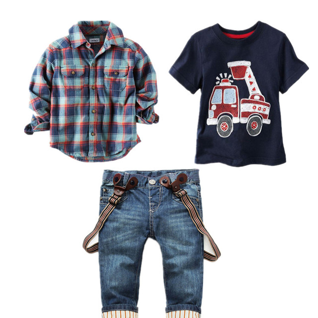 2016 Spring New Children Clothing Gentleman Plaid kids casual boys clothing sets T-Shirt + Suspender Trousers 3 pcs Sports sets