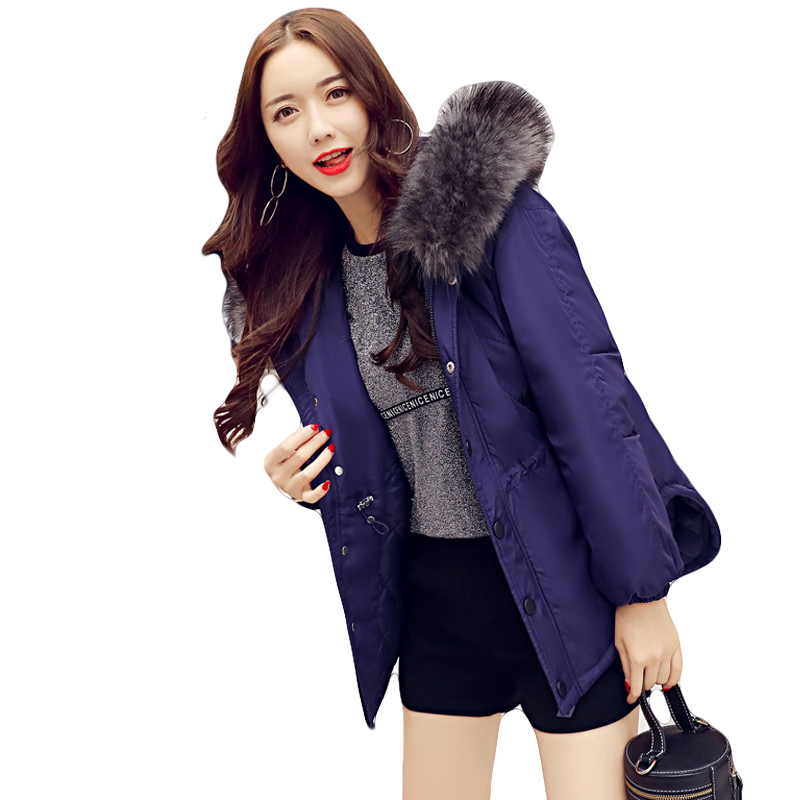2017 New Fashion Female Snow Wear Women Winter Wadded Jacket Coats Girls Large Fur Collar Hooded Thick Parkas Outwear CM1416 coolbell men women laptop backpack 15 6 17 inch rucksack school bag travel waterproof backpack male notebook computer bag 45