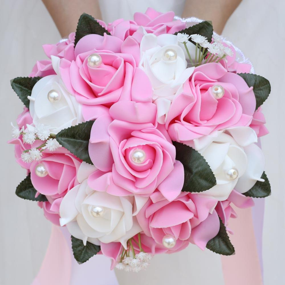 In Stock Bridesmaid Diamond Ribbon Bouquet PE Holding Flower Wedding Bouquet Foam Cream Rose De Mariage Wedding Bouquets FW007