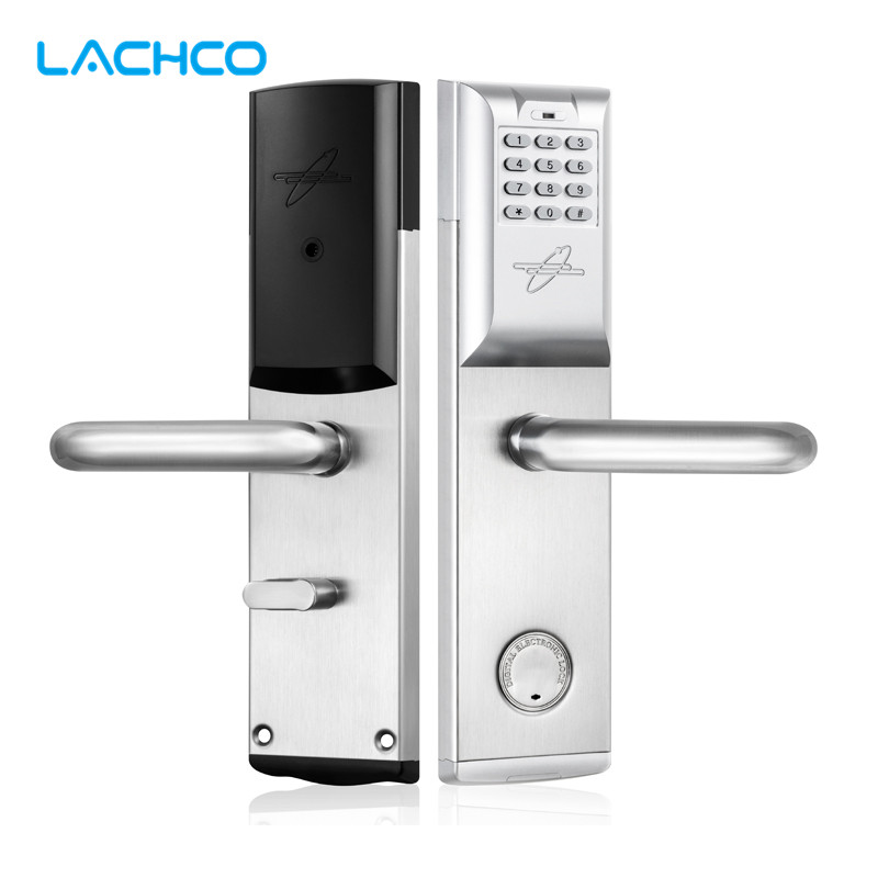 LACHCO Smart Password Electronic Door Lock Code, RF Card, Mechanical Key Intelligent Digital Keyless Lock Satin Nickel SL16084S access control smart electronic keyless deadbolt door lock unlock with code remote control mechanical key right left hand f1405d