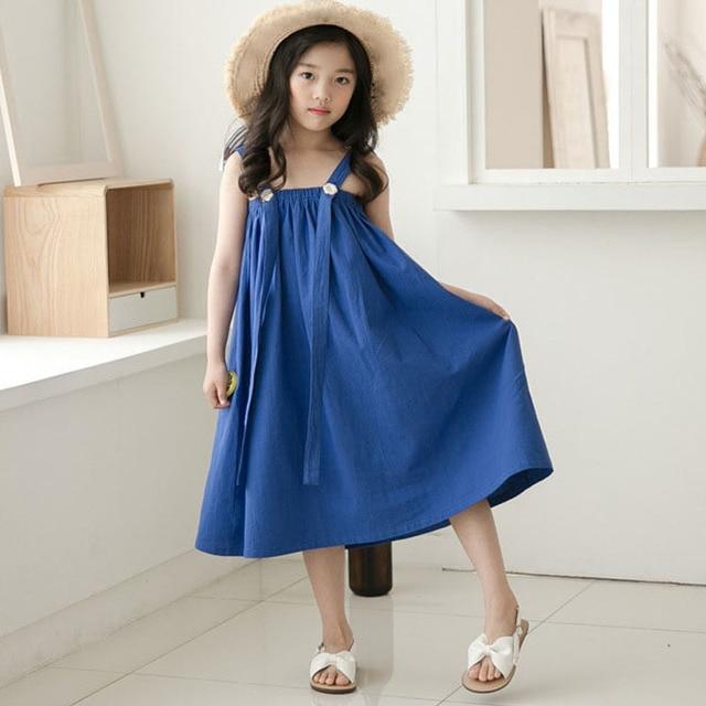 Сарафан для малышей Девушки Макси платье длинные детская одежда лето 2019 новый принцесса подростков платье девочек пляжное трапециевидной формы