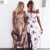 Boho Style Long Dress Women Off Shoulder Beach Summer Dresses Floral Print Vintage Chiffon White Maxi