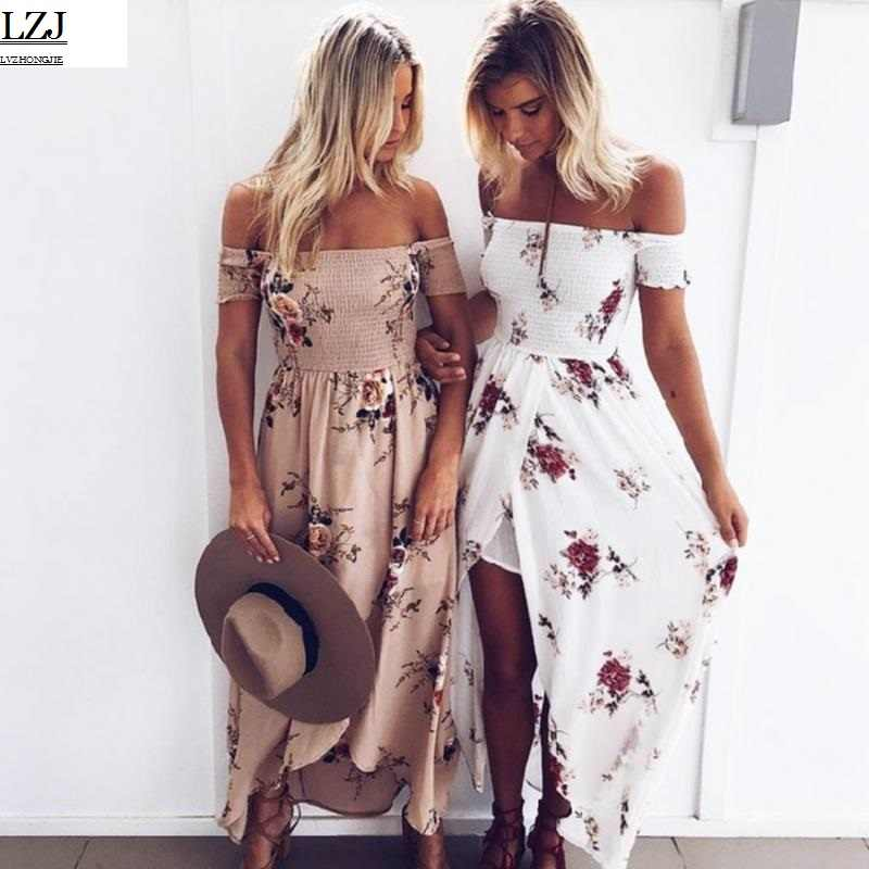 d45f8bc9e86ec Boho style long dress women Off shoulder beach summer dresses Floral print  Vintage chiffon white maxi