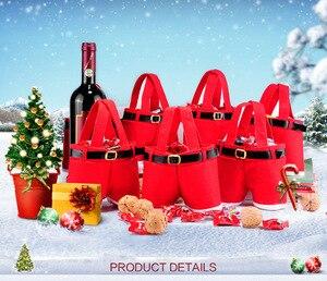 Image 2 - 10 adet Mutlu noel hediyesi Tedavi Şeker şarap şişesi Çantası Noel Baba Askı Pantolon Pantolon Dekor noel hediyesi Çanta