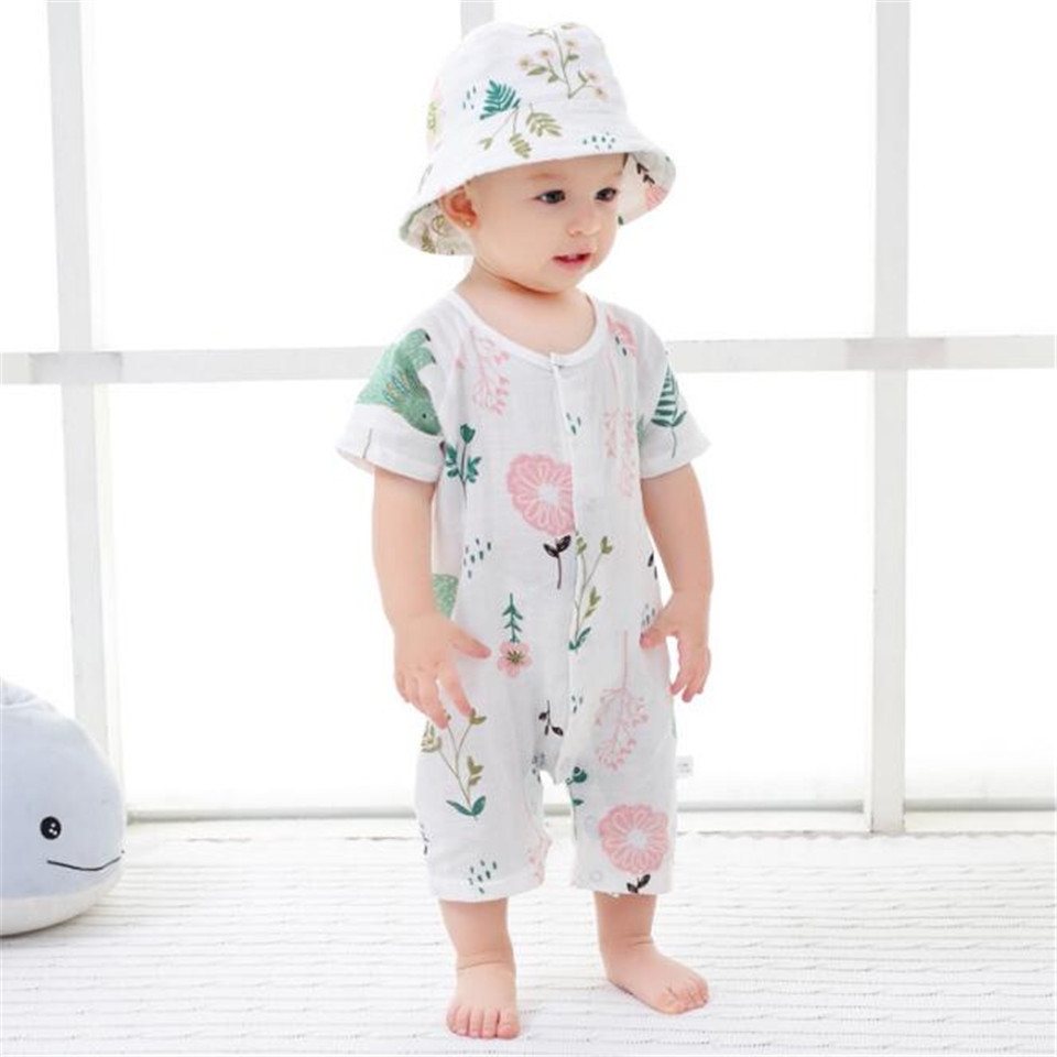 Baby   Romper   Newborn Infant Clothes Boy Girl   Rompers   100% Cotton Short Sleeve Gauze Muslin   Romper   Jumpsuits Clothing 2 Layer Soft