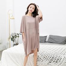 Одежда для сна большого размера; однотонное летнее домашнее платье; ночная рубашка для улицы; свободная ночная рубашка с круглым вырезом; ночная рубашка