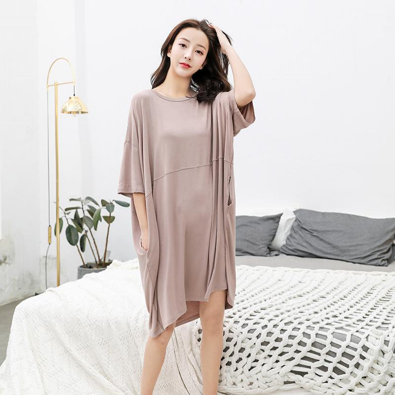 Oversize Sleepwear Solid Summer Home Dress Outdoor Nightdress Loose O-Neck Modal Nightgown Negligee Lingerie Sleep Gown Lounge