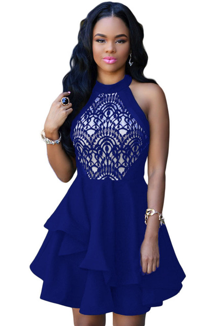 Newest Fashionable White/Black/Blue/Red Lace Party/Club Dress – M/L Sizes