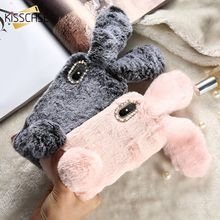 KISSCASE 100% Rabbit Hair Case For iPhone X XR XS Max Soft Fluffy Cover 5s SE 6 6s 7 8 Plus Glitter Silicone Capinhas