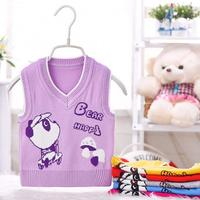 Linda Camisola Do Bebê Colete Bebê Colete Menina Menino Roupa Com Decote Em V de Malha Urso Feliz Amor Roupa Do Cão 12 Cores para 0-12Months