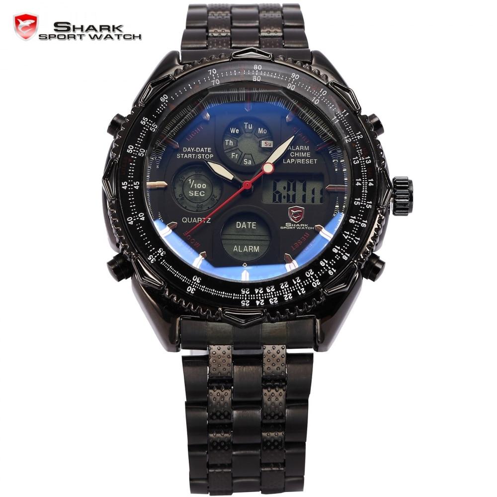 SHARK Sport Watch Digital LCD Stainless Steel Strap ...