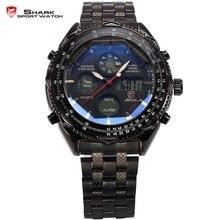 SHARK Sport Montre Numérique LCD Inoxydable Bracelet En Acier Relogio Masculino Noir Montres À Quartz homme Militaire Hommes Horloge/SH116
