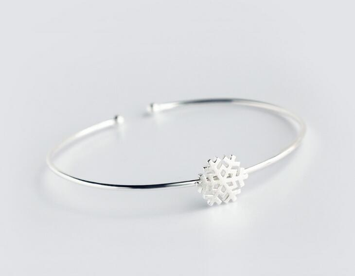 97b689ea3c2 Solid 925 sterling silverSnowflake Bangle Bracelet Cuff Adjustable  GTLJ169-in Bracelets & Bangles from Jewelry & Accessories