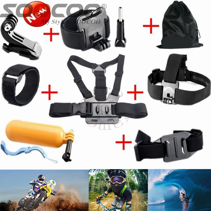 SOOCOO Accessories Chest Head Strap Monopod Floating Bobber Mount for Go pro Hero 4/3+2 Xiao Yi Action Camera SJCAM Sj7000 eken
