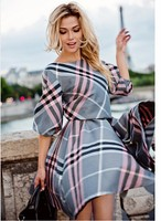 Tumn 2017 New Fashion Women Plaid Print Dress Casual O Neck Half Sleeve Tunic Vintage Dresses