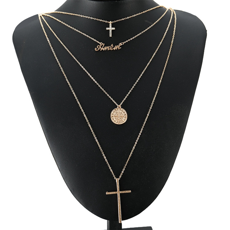 Gold Color Cross Letter Round Pendant Necklace Boho Multi Layer Choker Chain Link Necklace For Women Fashion Jewelry Gift