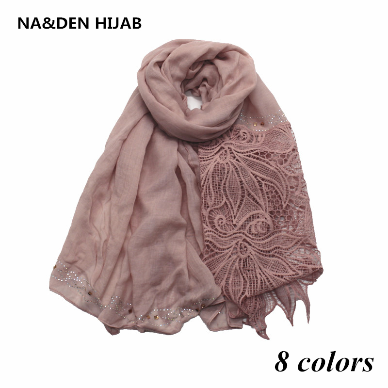 8 colors women embroider big flower edges scarf rhinestone decor scarves and shawls solid muslim shawl headband soft fourlard
