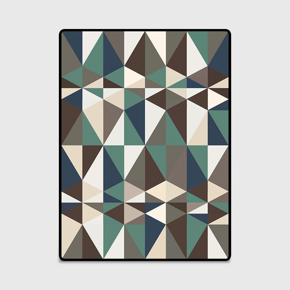 Fashion Door/Kitchen mat Living Room Bedroom Parlor Bedside Area Rug Decorative Carpet Nordic Style Dark Green Brown Triangles