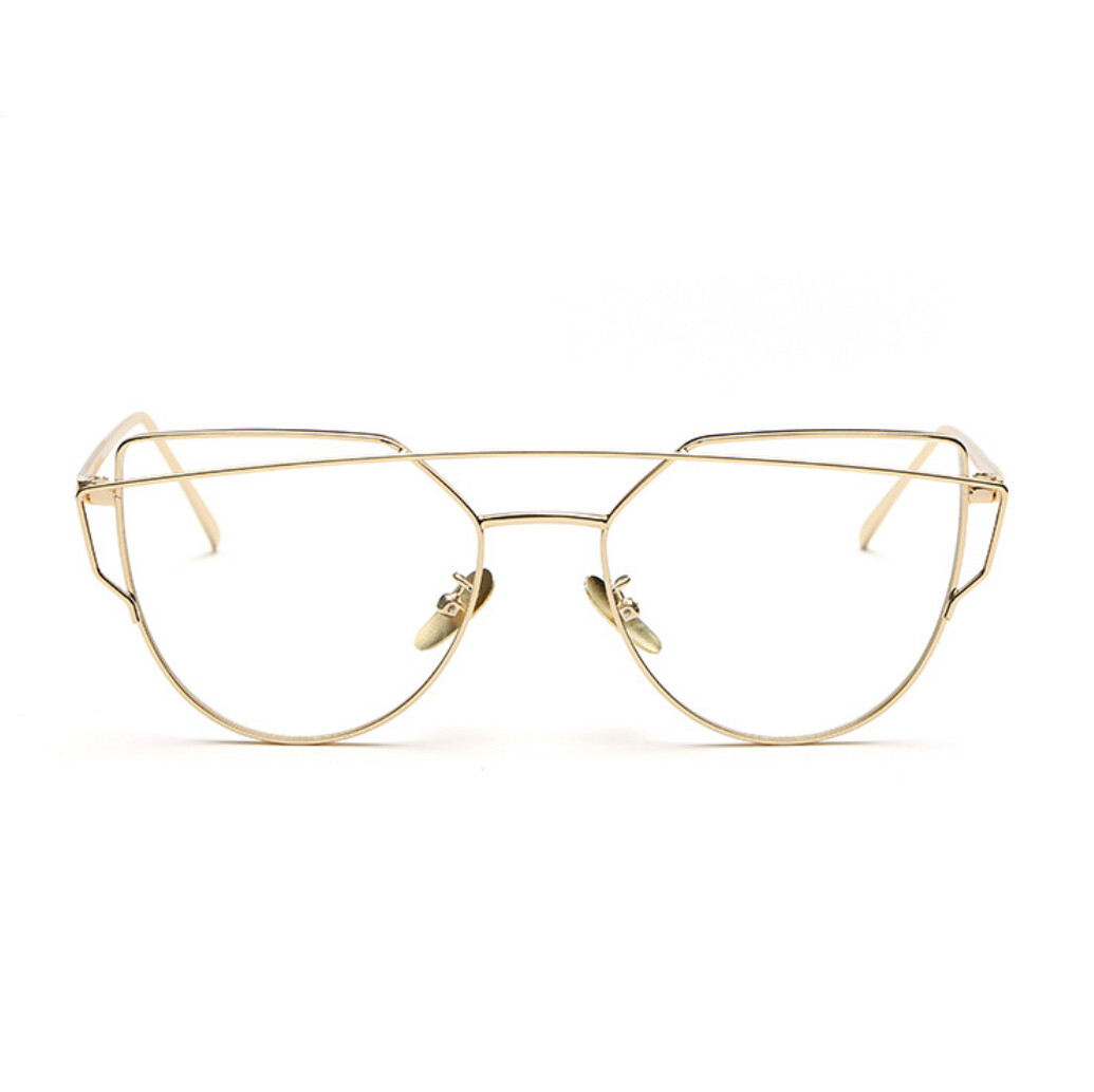 high quality retro gold glasses frames rimmed clear glasses optical lenses woman transparent lens female grade