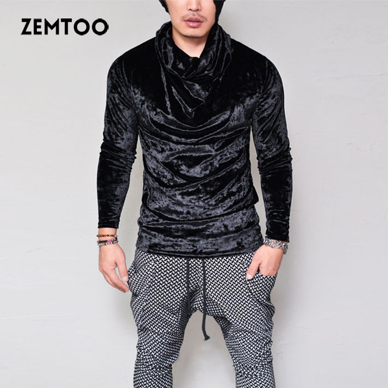 Zemtoo Men Sweater Men's Gold Velvet Long-Sleeve Sweater Stacking Collar Turtleneck Sweater Nightclub Casual Clothes 2018 New
