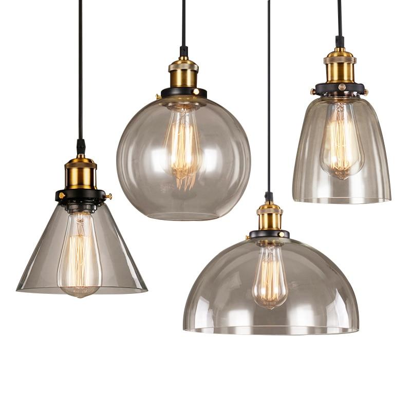 Image 2 - Vintage Pendant Lights American Amber Glass Pendant Lamp E27 Edison Light Bulb Dinning room Kitchen  Home Decor Planetarium Lamp-in Pendant Lights from Lights & Lighting