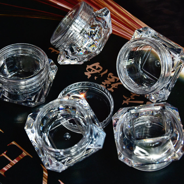 Wholesale 5g (5ml, 0.17oz) Clear 100Pcs Cosmetic Empty Jar Pot Eyeshadow Makeup Face Cream Lip Balm Container Box (Diamond)