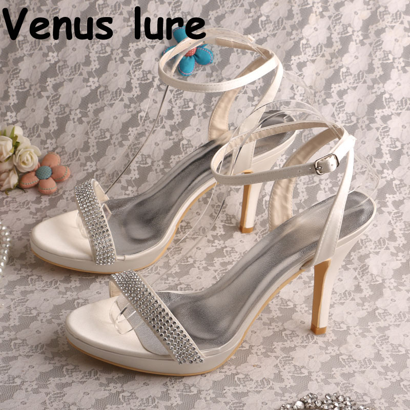 Custom Crystal Women Sandals Ivory Satin Bridal Wedding Shoes High Heel  Summer Shoes 467581ddd1d0