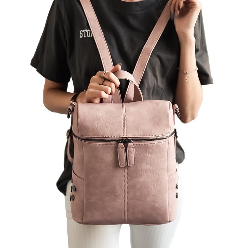 Simple style backpack women pu leather shoulder bag for teenage girls fashion vintage rucksack designer school