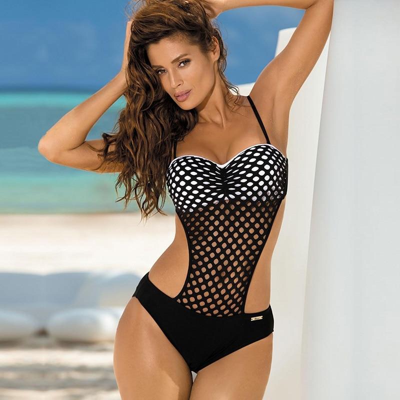 Mesh One Piece Swimsuit Women Hollow Out Monokini Push Up Bikini Halter Cut Out Swimwear 2017 Sexy Bandeau Bodysuit Bathing Suit