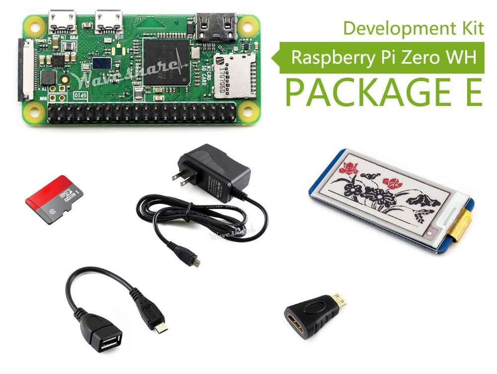Raspberry Pi Zero WH (built-in WiFi,pre-soldered headers)Type E,Micro SD Card,Power Adapter,2.13inch e-Paper HAT,Basic Component raspberry pi zero w package e basic development kit 16gb micro sd card power adapter 2 13inch e paper hat and basic components