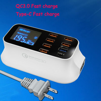 MLLSE 8 Port USB Charger 40W With Quick Charge 3.0 Type-C LED Display Charging For iPhone iPad Samsung Huawei Xiaomi Smart Phone Battery Chargers