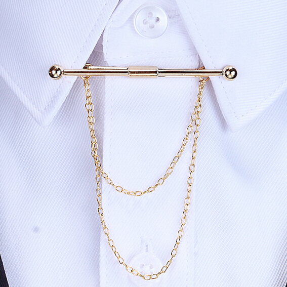 2016 Fashion gold Personality bow men Brooch long Tassel Chain Clip Collar Shirt Buttoned Pin Male Accessories