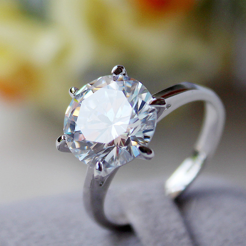 MOONROCY Silver Color Cubic Zirconia Crystal Promise Wedding Rings for Women 5 Carat Bride Accessories Jewelry Dropshipping 4