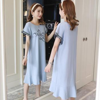2019 mùa hè mới mang thai phụ nữ ăn mặc ren dài cho con bú ăn mặc Hàn Quốc phiên bản lỏng B-6