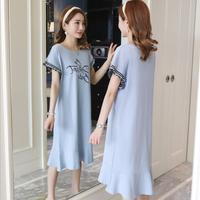 2019 verano nuevo vestido de mujer embarazada de encaje largo vestido de lactancia versión coreana suelto B-6