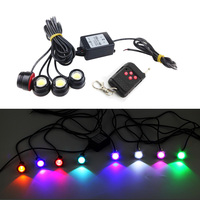 4 pcs x 1.5W High Power Eagle Eye LED Strobe Flash Knight Rider Lighting Kit + 16 flash Wireless Remote Control