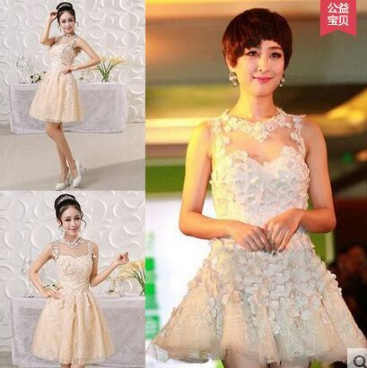 elegant short white prom dresses 2015 Evening bridal wedding dress cocktail bridesmaid vestidos de festa - zhongwen xiao's store