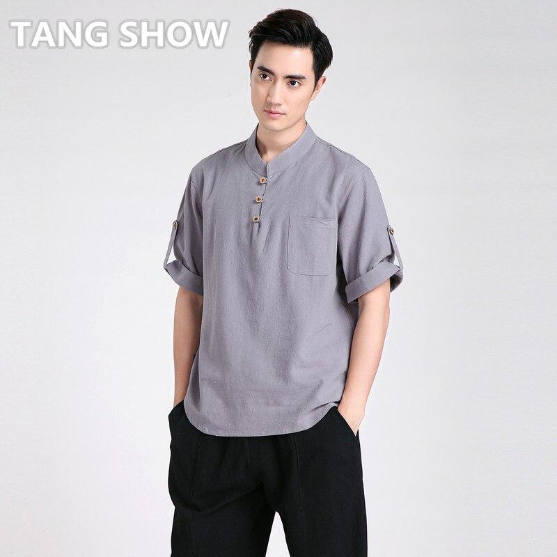 Vintage Gray Men Summer Casual Cotton Linen Shirt Chinese Kung Fu Tai Chi Shirt Wu Shu Clothing S M L XL XXL XXXL 2606-2