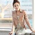 2016 весна осень большой размер XS XXL XXXL женщин кожаные куртки и пальто короткое молнии мотоцикла кожаная куртка пу верхняя одежда пальто Искусственную женская дубленка