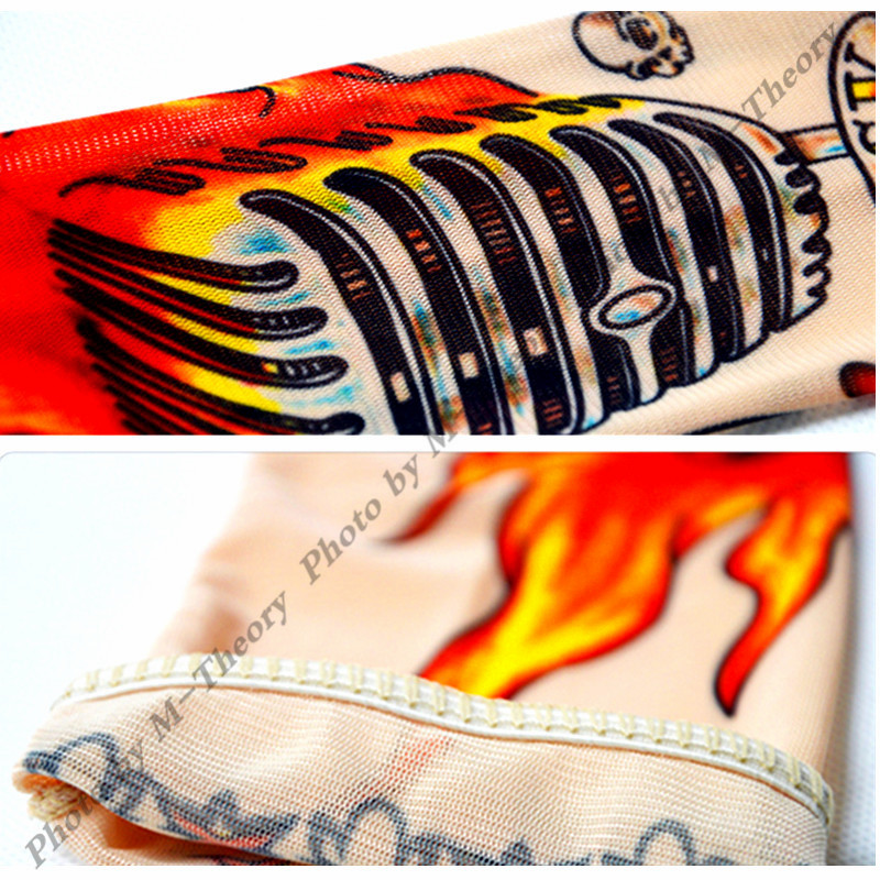 M-theory 1pcs Kid Size Sleeve Arm Stockings Leggings Henna 3D Temporary Tattoos Body Art Biker Rocker Makeup Tools