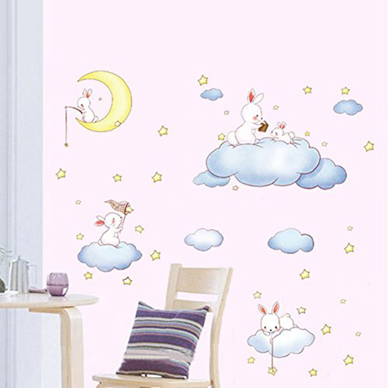 Hot Sale Cartoon White Clouds Rabbit Wall Stickers For Kids Rooms Baby Bedroom Home Decor Wall Paper