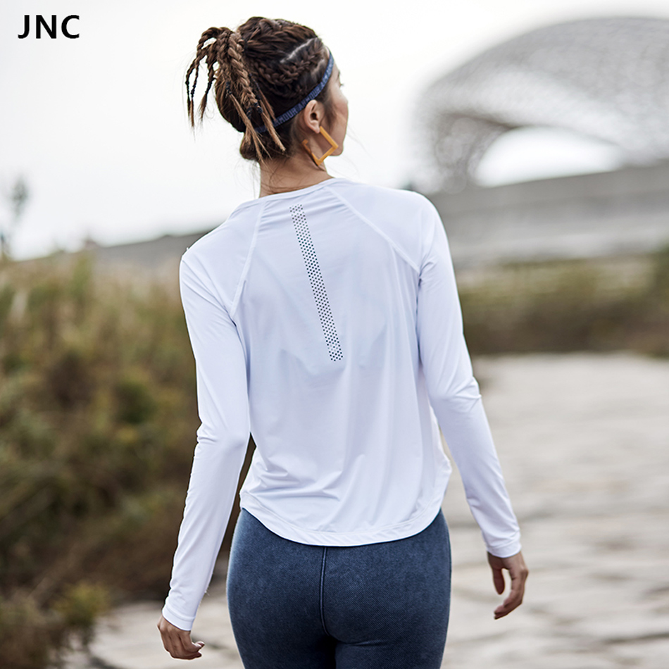 Women Long Sleeve Yoga Shirts Solid Color Sports Top Shirts Quick Dry Fitness Tees Training Tops White Mesh Gym Sportswear 2018 stylish solid color batwing sleeve asymmetrical tops for women