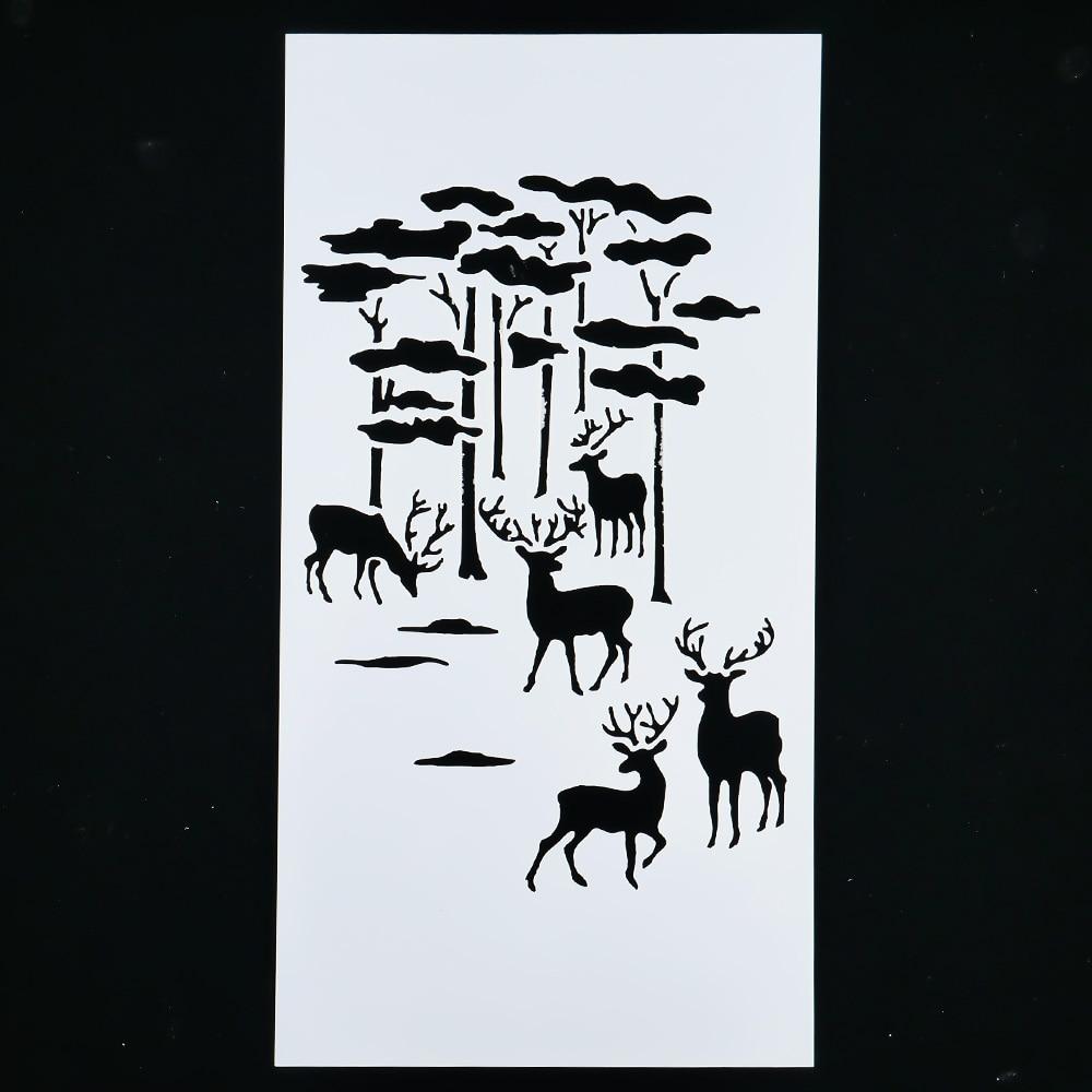 1PC Elk Reusable Stencil Airbrush Painting Art DIY Home Decor Scrap Booking Album Craft
