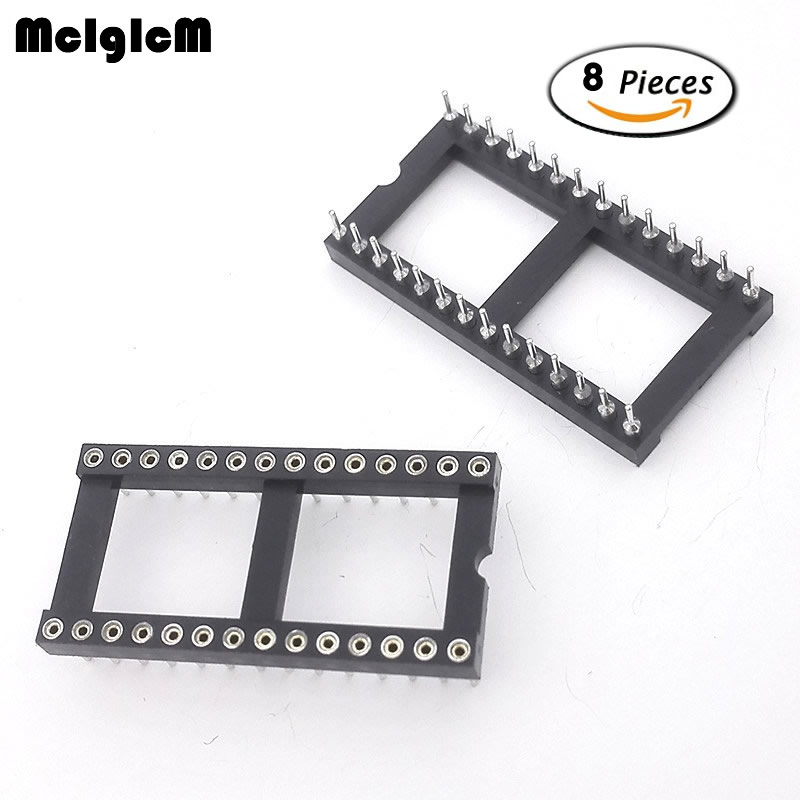 MCIGICM 8pcs Round Hole 28 Pins Wide 2.54MM DIP IC Sockets Adaptor Solder Type IC Connector