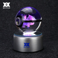 Popular Game Pokemon Go Engraving Round 3D Crystal Ball With Black Line Ball With LED Base