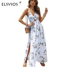 ELSVIOS 2018 Sexy Slit split Floral print dress women summer Halter Backless  bow V Neck beach dress hollow out maxi long dress 2c82d23e6b03